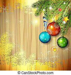 Christmas ball and pine tree branch