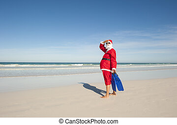 Santa Claus Christmas Holiday Beach - Santa Claus standing...
