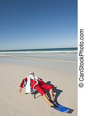 Santa Claus Christmas Tropical Beach