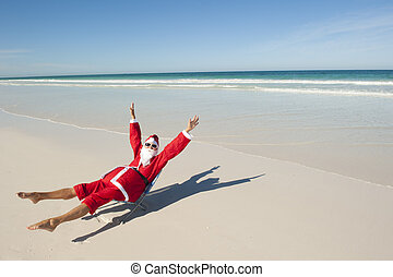 Santa Claus Christmas Holiday Beach