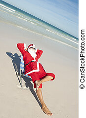 Christmas Holiday Beach Santa Claus - Santa Claus happy...