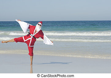Happy Santa Claus Christmas Beach Holiday