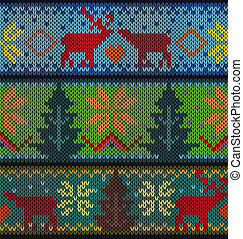 Knitted background with Christmas ornament, vector