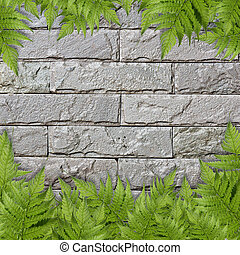 The green  plant on a brick wall for background