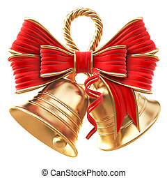 bells - golden bells with a red bow isolated on white