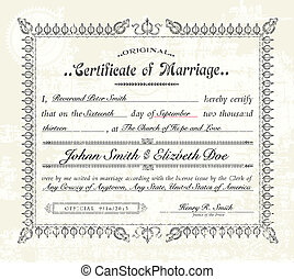 Vector Vintage Marriage Certificate. Easy to edit....