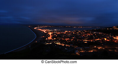 Chesil beach at night - Street lights light up the causway...