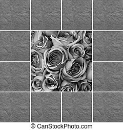 sympathy - condolence card with black and white roses...