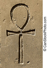 Ancient egypt symbol Ankh carved on the stone - Ancient...
