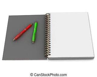 Notebook with spiral and two handles on a white background