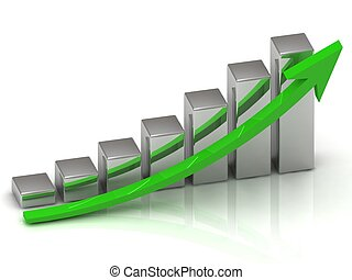 Business graph output growth of silver bars and green arrows