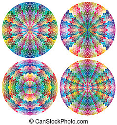 Filigree color wheels - Mosaic like signs in full color...