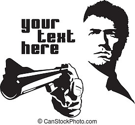 vector drawn man calahan pointing a gun with text on side