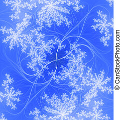 Snowflakes on the wind - Abstract blue background, tender...