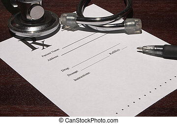 Prescription - A blank page from a doctor\\\'s medical...