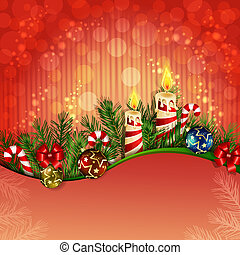 Christmas background with burning candles with burning...