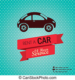 Rent a car - Illustration of rent a car, Vintage label...