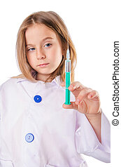 Little doctor with syringe