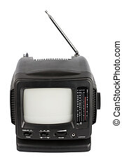 Portable TV - Black portable TV with radio isolated on white...