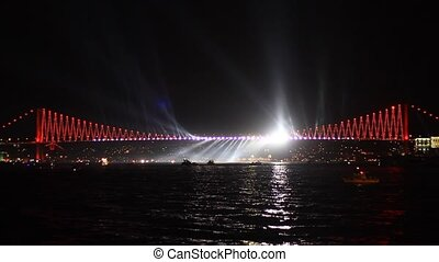 Light Show in Istanbul, Turkey - Bosphorus Bridge's spot...