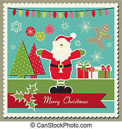 Christmas card with Santa Claus - Scrapbook inspired Vector...