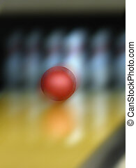 Bowling ball - Red bowling ball about to strike pins