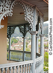 Famous blue wooden carving balcony and terrace of last...