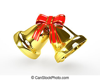 golden bells with a red bow