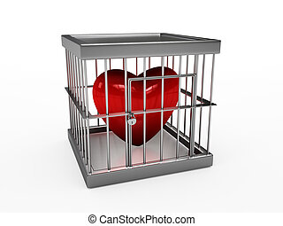 heart  in jail - Rendering of red heart  in jail