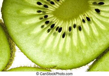 Kiwi background - Kiwi fruit close up on white