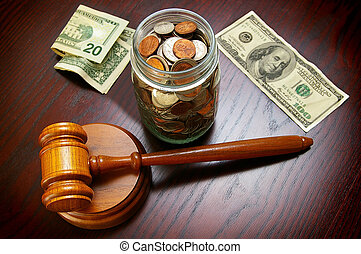 cash and gavel - legal gavel with cash and coins - legal or...