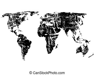 Grunge world map - Black grunge world map on a white...
