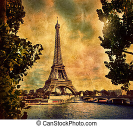 Eiffel Tower in Paris, Fance in retro style - Eiffel Tower...