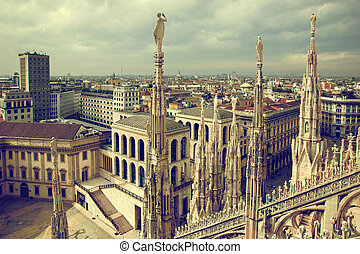 Milan, Italy View on Royal Palace - Palazzo Realle - Milan,...