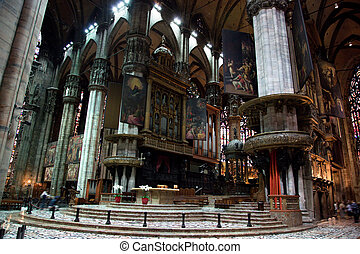 Interior of Milan Cathedral. Milan, Italy.