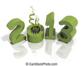 New year 2013 in green numbers with bamboo - New years eve...