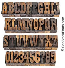 vintage letters and numbers - isolated rows of letters and...