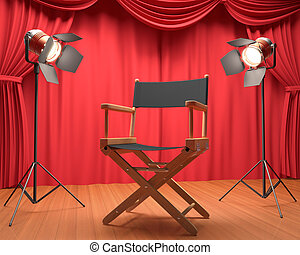 Interview Film - Director's chair on the stage illuminated...