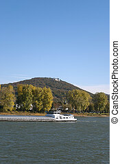 River Rhein - View on the river Rhein and Petersberg in...