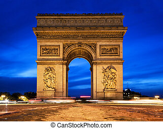 Arc de Triomphe at night, Paris, France - Arc de Triomphe,...