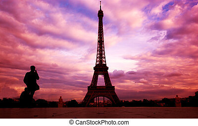 Eiffel Tower Paris, Fance at sunset - Eiffel Tower in Paris,...