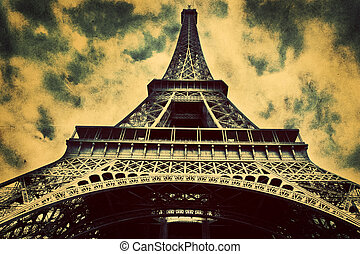 Eiffel Tower in Paris, Fance in retro style.