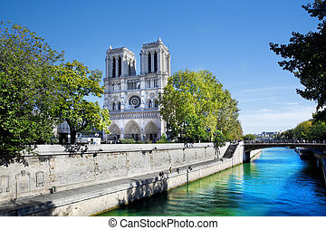 Notre Dame Cathedral, Paris, France View from Seine river