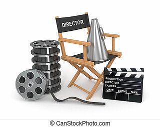 Movie industry. Producer chair, ?lapperboard and film reel.