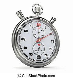 Stopwatch 3d - Analog stopwatch on white isolated background...