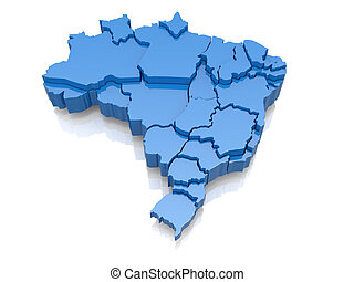 Three-dimensional map of Brazil on white background. 3d
