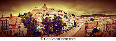 Panorama of old city of Ibiza, Spain - Panorama of old city...
