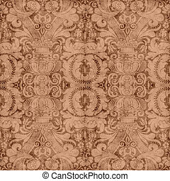 Vintage Brown Tapestry - Worn brown tapestry pattern