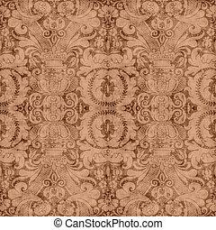 Vintage Brown Tapestry - Worn brown tapestry pattern