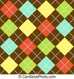 Argyle Pattern - Argyle pattern in bright colors on brown...